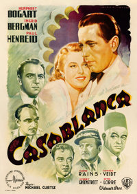 "Casablanca (Warner Brothers, 1946). First Post-War Release Italian 4 - Fogli (55.5"" X 78.25"") Luigi Martinati..."