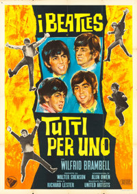 "A Hard Day's Night (United Artists, 1964). Italian 4 - Fogli (55"" X 77"")"