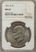 Eisenhower Dollars, 1971-D $1 MS67 NGC. NGC Census: (48/0). PCGS Population: (34/0). Mintage 68,587,424. ...