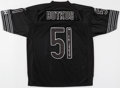 """Football Collectibles:Others, Dick Butkus Signed Chicago Bears Black Jersey - """"HOF 79"""" Inscription. ..."""