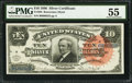 Large Size:Silver Certificates, Fr. 293 $10 1886 Silver Certificate PMG About Uncirculated 55.. ...