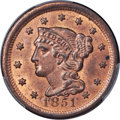 Large Cents, 1851 1C N-40, R.5, MS64 Red and Brown PCGS. CAC....