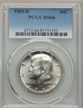 Kennedy Half Dollars, 1969-D 50C MS66 PCGS. PCGS Population: (269/18). NGC Census:(178/4). Mintage 129,881,800. ...