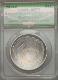 2014-P $1 Baseball Hall of Fame Silver Dollar, First Release MS70 ANACS. Certified #064 of 698. NGC Census: (0). PCGS Po...