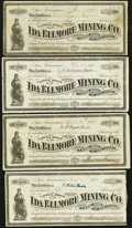 Miscellaneous:Other, Ida Ellmore Mining Co. Stock Certificates 25; 50 (2); 100 Shares1874-75.. ... (Total: 4 items)