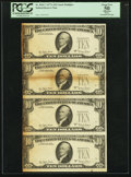 Fr. 2024-? $10 1977A Federal Reserve Notes. Uncut Multiple of Four. PCGS Apparent About New 50