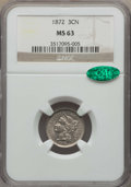 Three Cent Nickels: , 1872 3CN MS63 NGC. CAC. NGC Census: (32/73). PCGS Population: (66/101). CDN: $225 Whsle. Bid for problem-free NGC/PCGS MS63...