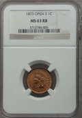 Indian Cents, 1873 1C Open 3 MS63 Red and Brown NGC. NGC Census: (14/112). PCGS Population: (113/321). CDN: $55 Whsle. Bid for problem-fr...
