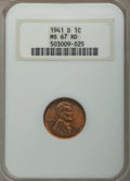 Lincoln Cents: , 1941-D 1C MS67 Red NGC. NGC Census: (928/0). PCGS Population: (213/0). Mintage 128,700,000. ...