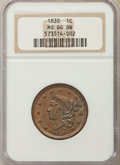 Large Cents: , 1838 1C MS64 Brown NGC. NGC Census: (91/75). PCGS Population: (118/61). CDN: $750 Whsle. Bid for problem-free NGC/PCGS MS64...