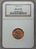 Lincoln Cents: , 1951-S 1C MS67 Red NGC. NGC Census: (194/0). PCGS Population: (115/0). Mintage 136,010,000. ...