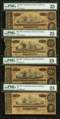 Confederate Notes:1864 Issues, T67 $20 1864 PF-4; PF-6; PF-12; PF-22.. ... (Total: 4 notes)