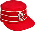Baseball Collectibles:Hats, 1976 Lou Brock Game Worn Signed St. Louis Cardinals Pillbox Cap....