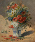 Fine Art - Painting, European, J. Petit (Early 20th Century). Still life with poppies. Oilon canvas. 25-1/2 x 21-1/4 inches (64.8 x 54.0 cm). Signed l...
