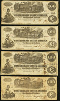 Confederate Notes:1862 Issues, T39 $100 1862 Four Examples.. ... (Total: 4 notes)