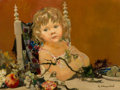 Fine Art - Painting, European, Georges Robert Cheyssial (French, 1907-1997). Portrait of youngchild with fruits. Oil on canvas. 18 x 24 inches (45.7 x...
