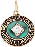 Baseball Collectibles:Others, 1972 Oakland A's World Champions Pendant. Gold col...