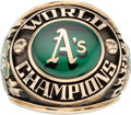 Baseball Collectibles:Others, 1974 Oakland A's World Series Ring Presented to Paul Finley....