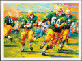 """Football Collectibles:Photos, Jerry Kramer Signed """"Packers Sweep"""" Green Bay Packers Lithograph - With Inscribed Lombardi Quote!..."""