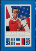 Autographs:Others, Arthur Ashe Signed Oversized Photograph. ...