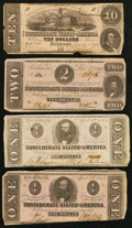Confederate Notes:1862 Issues, T52 $10 1862;. T54 $2 1862;. T62 $1 1863 Two Examples.. ... (Total:4 notes)