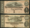 Confederate Notes:1864 Issues, T68 $10 1864 PF-70 Cr. UNL;. T69 $5 1864 PF-1; Cr. 558.. ... (Total: 2 notes)