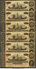 Confederate Notes:1864 Issues, T67 $20 1864 PF-3 Cr. 505 Twenty Consecutive Examples.. ... (Total: 20 notes)