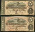 Confederate Notes:1864 Issues, T69 $5 1864, Two Examples.. ... (Total: 2 notes)