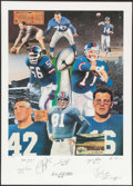 Football Collectibles:Photos, New York Giants Football Legends Multi Signed Lithograph....
