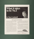 Football Collectibles:Others, Late 1960's Vince Lombardi Signed Advertisement....