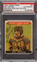 Football Cards:Singles (Pre-1950), Signed 1933 Sport Kings Red Grange #4 PSA/DNA Authentic. ...