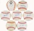 Autographs:Baseballs, Baseball Greats Single Signed Baseballs Lot of 7....