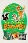 """Movie Posters:Animation, Bambi (Buena Vista, R-1957/R-1966). One Sheet (27"""" X 41"""") &Lobby Cards (5) (11"""" X 14""""). Animation.. ... (Total: 6 Items)"""