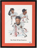 """Autographs:Others, Barry Bonds, Bobby Bonds and Willie Mays Signed """"The Pride of SanFrancisco"""" Lithograph...."""