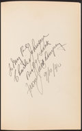 Boxing Collectibles:Autographs, Jack Dempsey Signed Hardcover Book....
