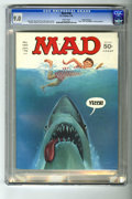 "Magazines:Mad, Mad #180 Gaines File pedigree (EC, 1976) CGC VF/NM 9.0 White pages.The shark from ""Jaws"" gives his opinion of Alfred E. Neu..."