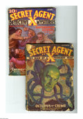 Pulps:Miscellaneous, Secret Agent X Pulp Group of 2 (Ace, 1934-36). Includes V3#1, September, 1934 (Fair) and V8#4, June, 1936 (GD/VG). Approxima... (Total: 2 Items)