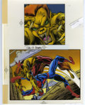 "Original Comic Art:Miscellaneous, Spider-Man Vs. Puma ""The Amazing Spider-Man"" Trading Card ColorGuide (Marvel, 1994). Puma gets the jump on the web-headed w...(Total: 2 Items)"