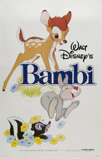 """Bambi (Buena Vista, R-1982). One Sheet (27"""" X 41""""). The tale of the young buck who grows up to be King of the..."""