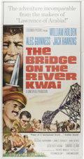 "Movie Posters:War, Bridge On The River Kwai (Columbia, R-1963). Three Sheet (41"" X81""). David Lean's intense classic about prisoners of war fo..."