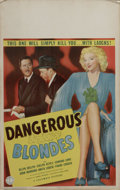 """Movie Posters:Comedy, Dangerous Blondes (Columbia, 1943). Window Card (14"""" X 22""""). Evelyn Keyes turned in one of her best performances as the myst..."""