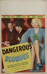 """Dangerous Blondes (Columbia, 1943). Window Card (14"""" X 22""""). Evelyn Keyes turned in one of her best performanc..."""