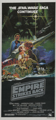 """The Empire Strikes Back (20th Century Fox, 1980). Australian Daybill (13"""" X 28""""). The first sequel to """"St..."""