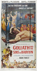 "Movie Posters:Adventure, Goliath and the Sins of Babylon (American International, 1964).Three Sheet (41"" X 81""). During the height of the Italian sw..."