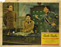 "Movie Posters:Comedy, The Great Dictator (United Artists, 1940). Lobby Card (11"" X 14""). The Little Tramp, Charlie Chaplin, traded in his traditio..."