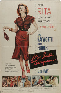 "Miss Sadie Thompson (Columbia, 1953). One Sheet (27"" X 41""). Rita Hayworth takes on the Joan Crawford role of..."