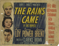 "The Rains Came (20th Century Fox, 1939). Title Lobby Card (11"" X 14""). An Indian doctor comes home from medica..."