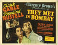 "Movie Posters:Adventure, They Met in Bombay (MGM, 1941). Title Lobby Card (11"" X 14""). ClarkGable and Rosalind Russell are competing jewel thieves a..."