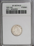 Bust Dimes: , 1833 10C XF40--Whizzed--ANACS, XF Details. JR-5. PCGS Population(13/176). NGC Census: (3/190). Mintage: 485,000. Numismedi...