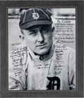 Baseball Collectibles:Others, Circa 2000 Ty Cobb Poster Multi-Signed By A.L. & N.L. Batting Champions....